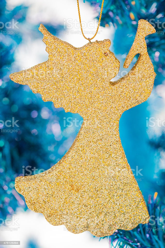 Golden angel with Christmas day and good day stock photo