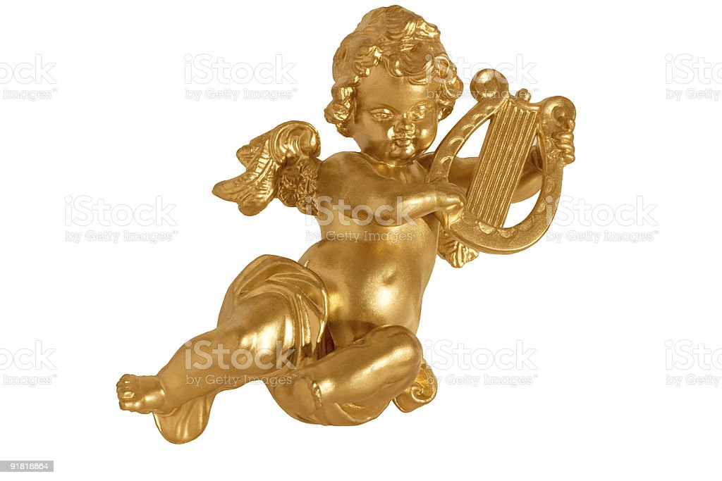Golden angel with harp isolated stock photo
