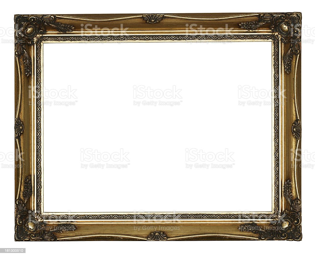 Golden Antique Carved  Picture Frame royalty-free stock photo