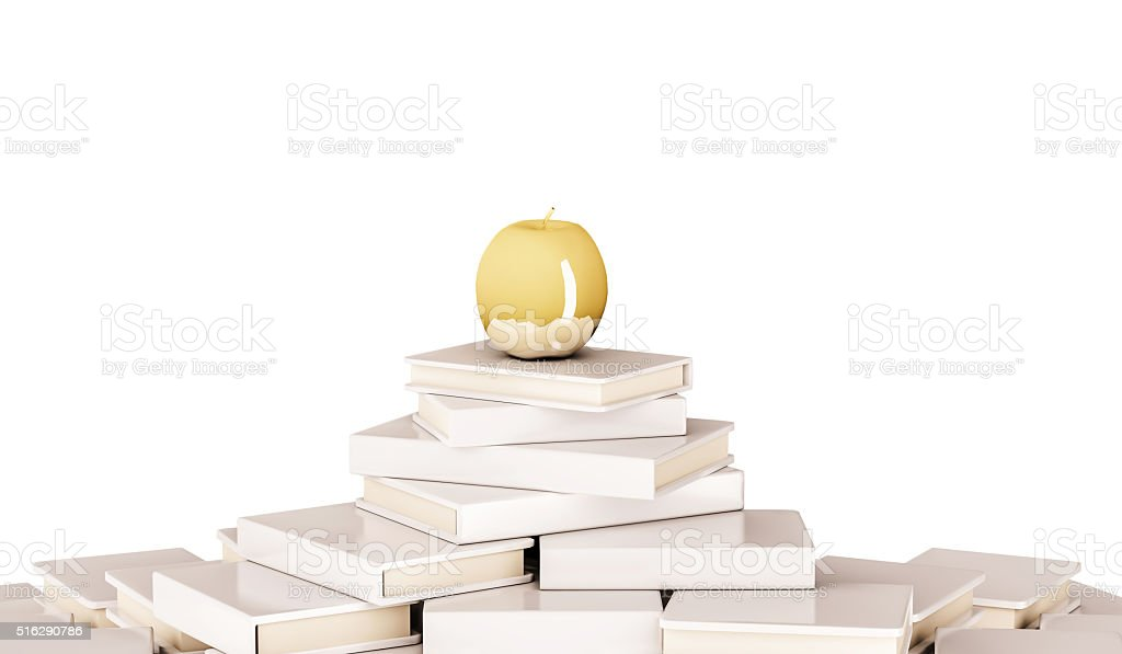 Golden apple on pile of book, isolated on white background stock photo