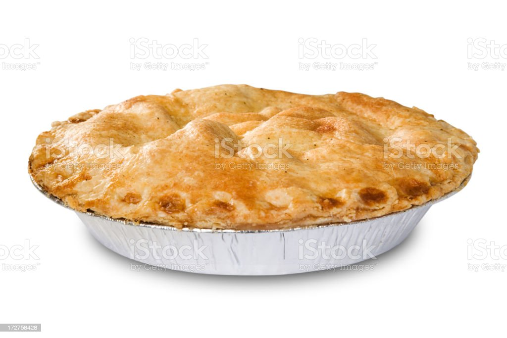Golden apple pie in an aluminum tin on a white background stock photo
