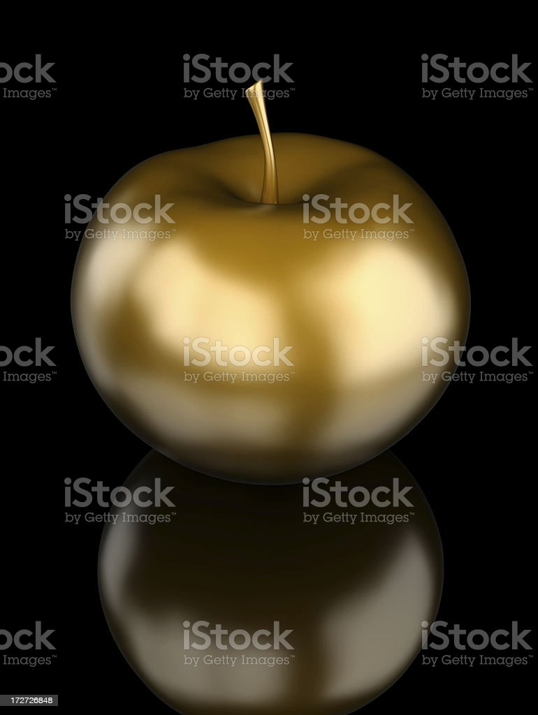 Golden apple with nice reflection stock photo
