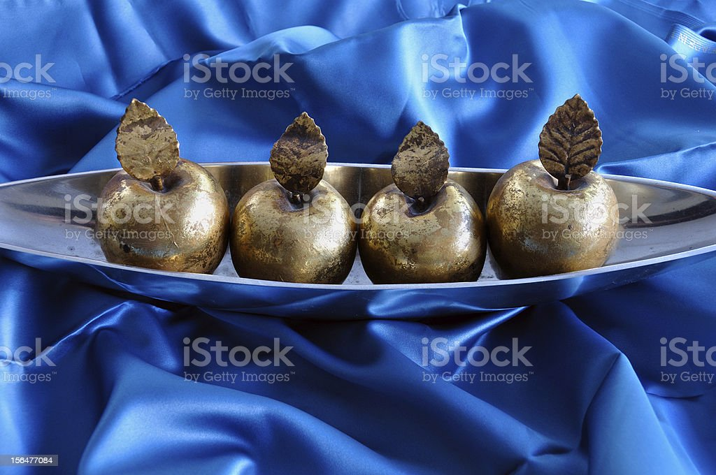 golden apples decorative christmas objects royalty-free stock photo