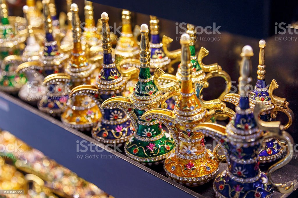 Golden arabic Coffee pot in grand bazaar. stock photo