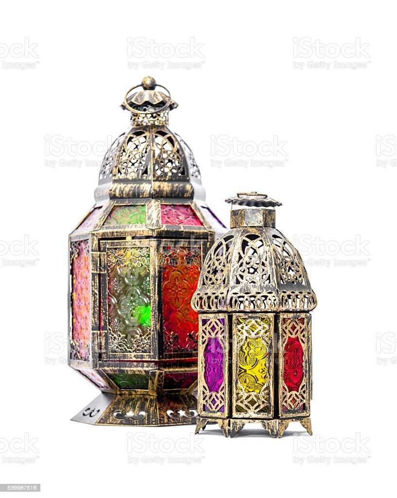 Golden arabic lantern. Oriental decoration stock photo
