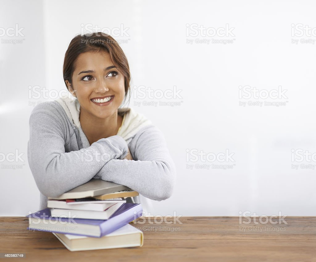 Golden aspirations for her time at college stock photo