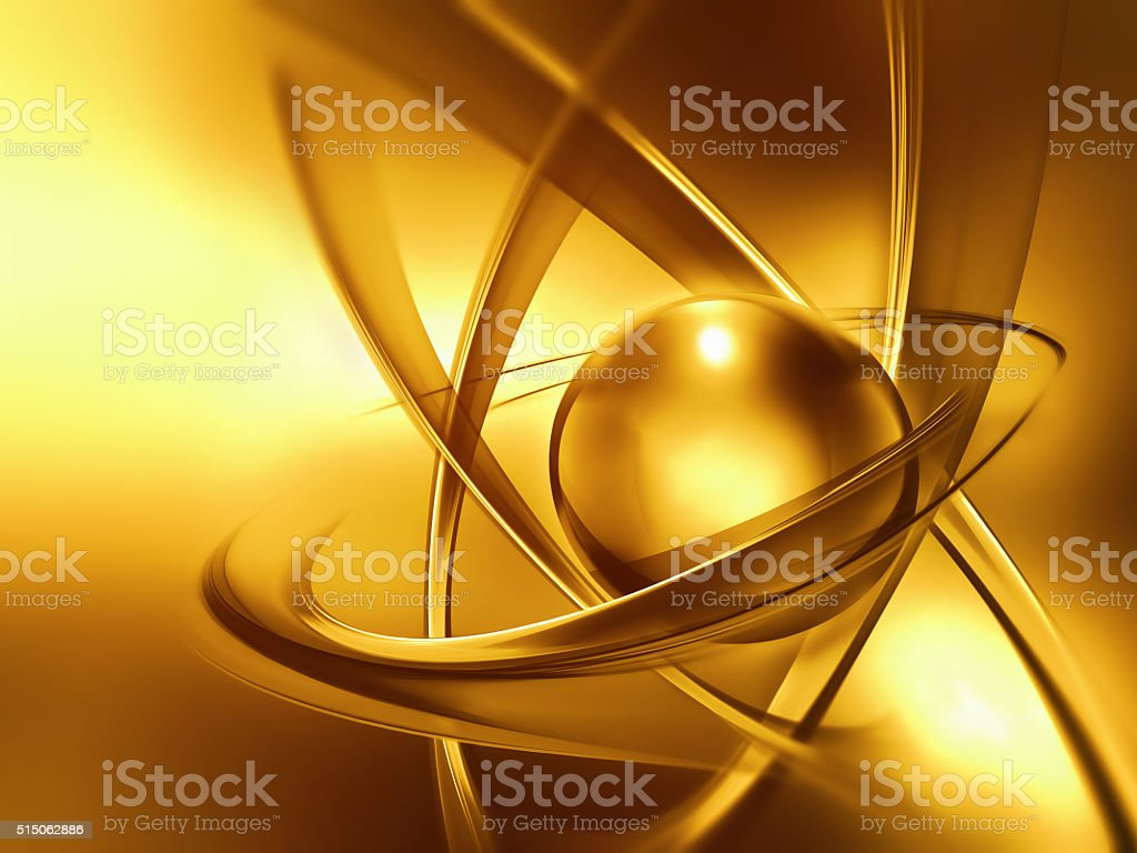 golden atom close up stock photo