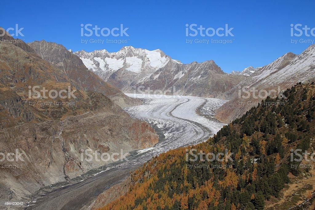 Golden autumn day at the Aletsch Glacier stock photo