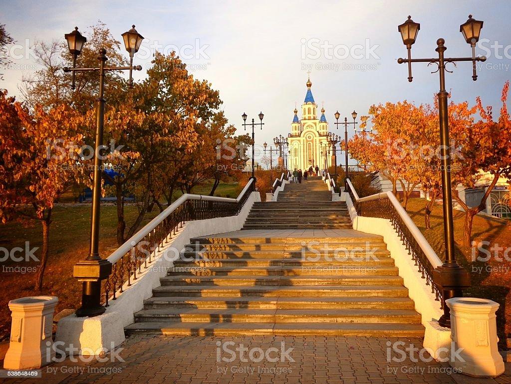 Golden autumn in Khabarovsk. Russia stock photo