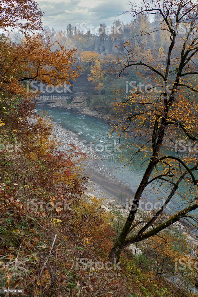 Golden autumn landscape of rapid mountain river gorge. stock photo