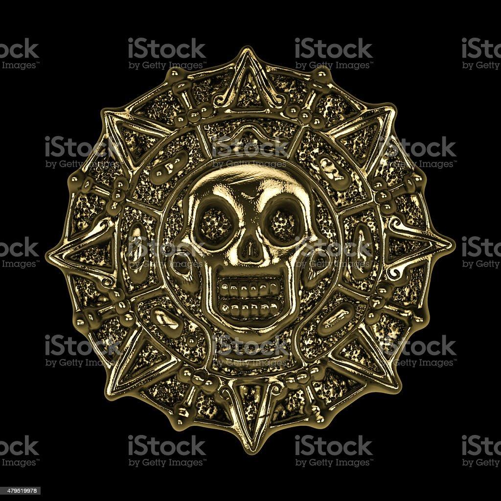 golden aztec pirate coin stock photo