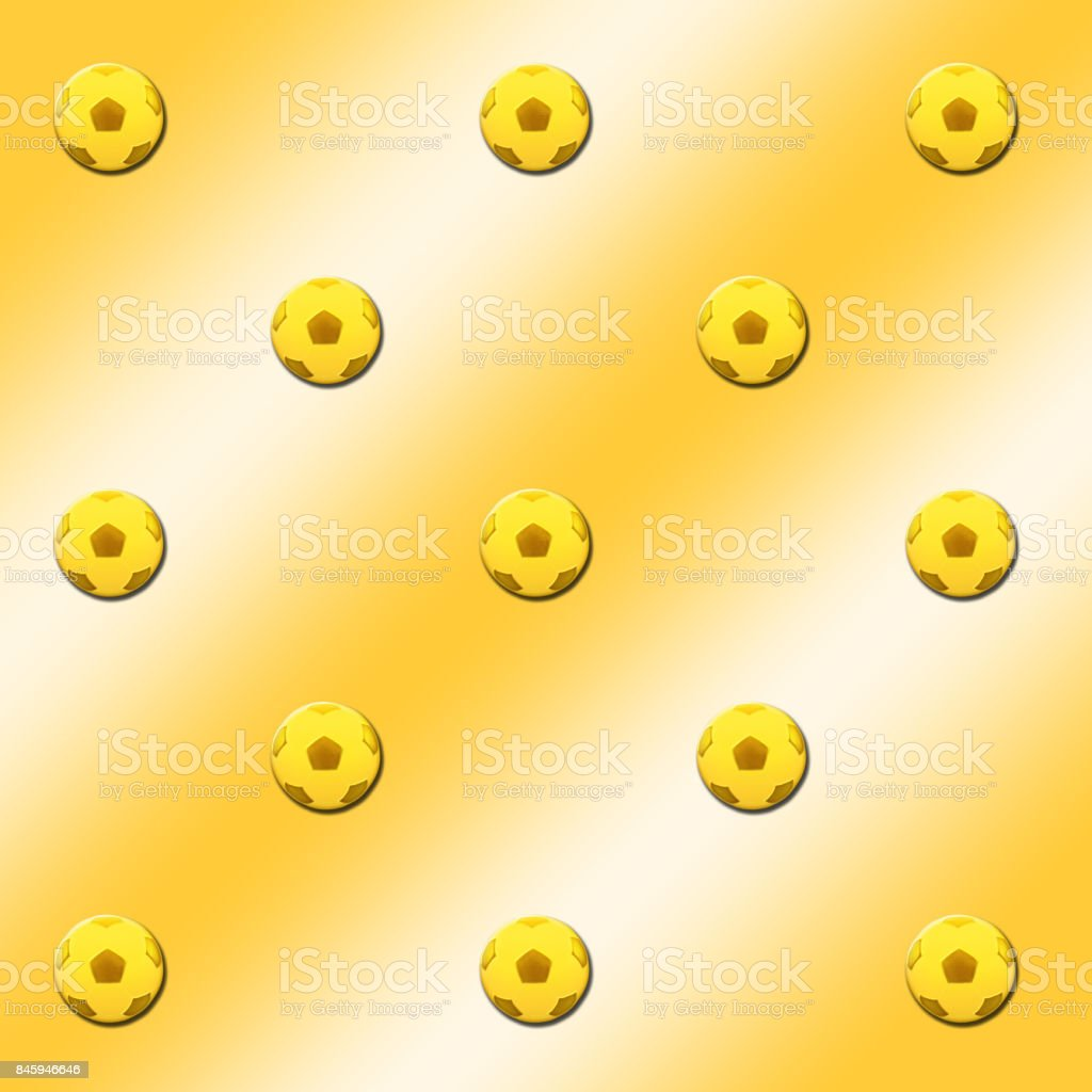 3D, Golden background with gold colored soccer-balls. stock photo