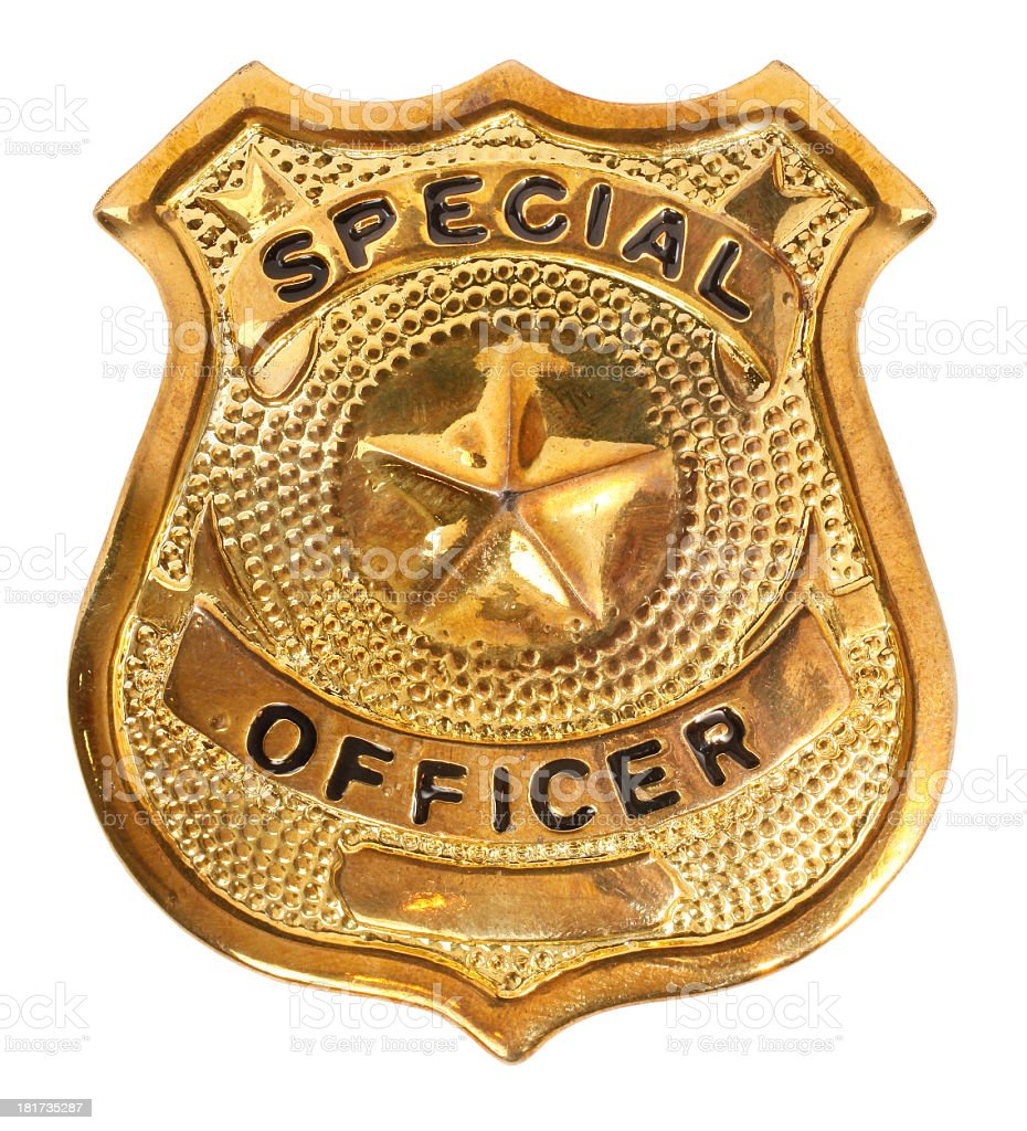 Golden badge reading 'special officer' on white background  stock photo