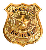 Golden badge reading 'special officer' on white background