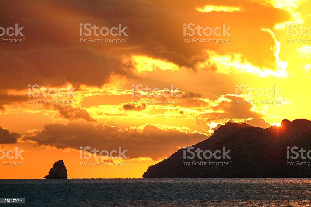 Golden Baja sunrise stock photo