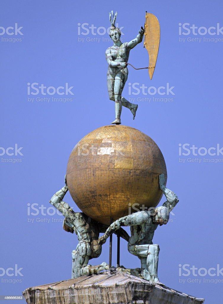 golden ball over the monument at Punta della dogana stock photo