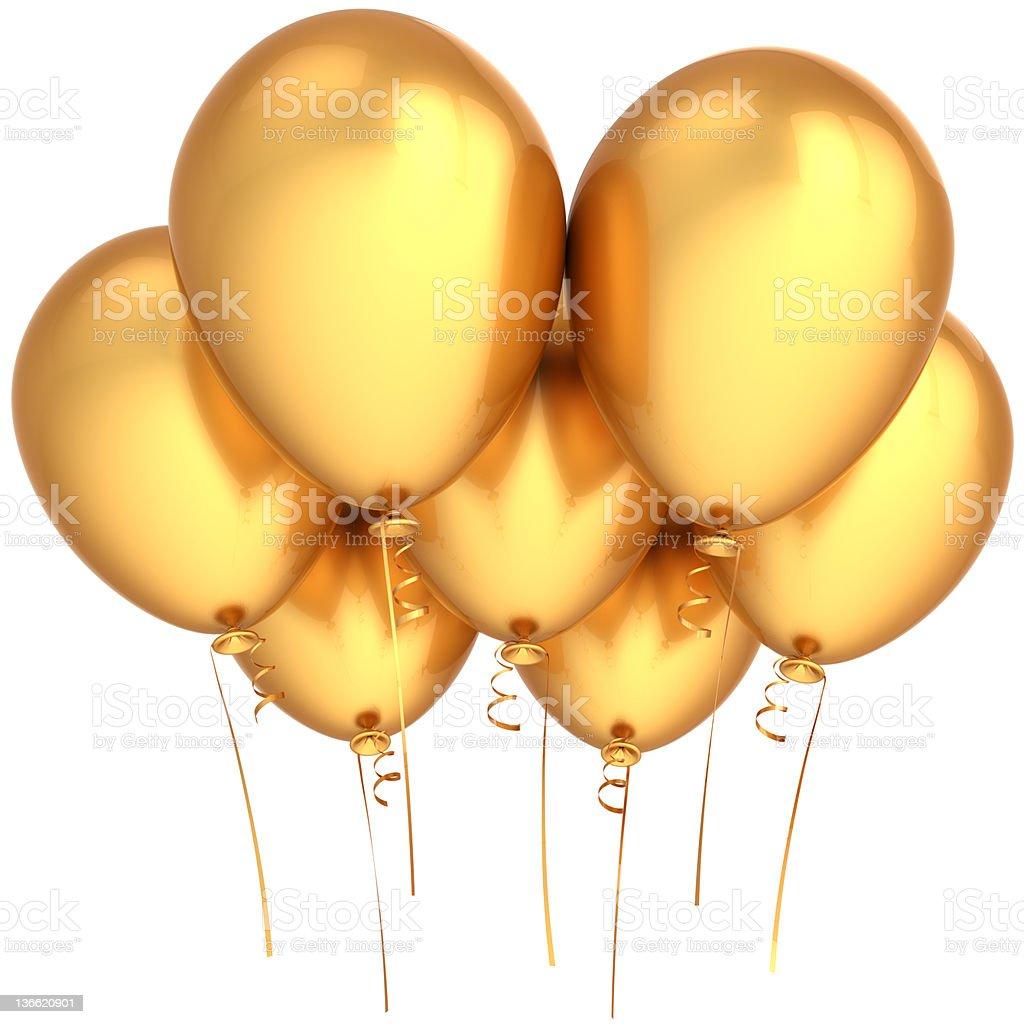 Golden balloons party birthday luxury decoration royalty-free stock photo
