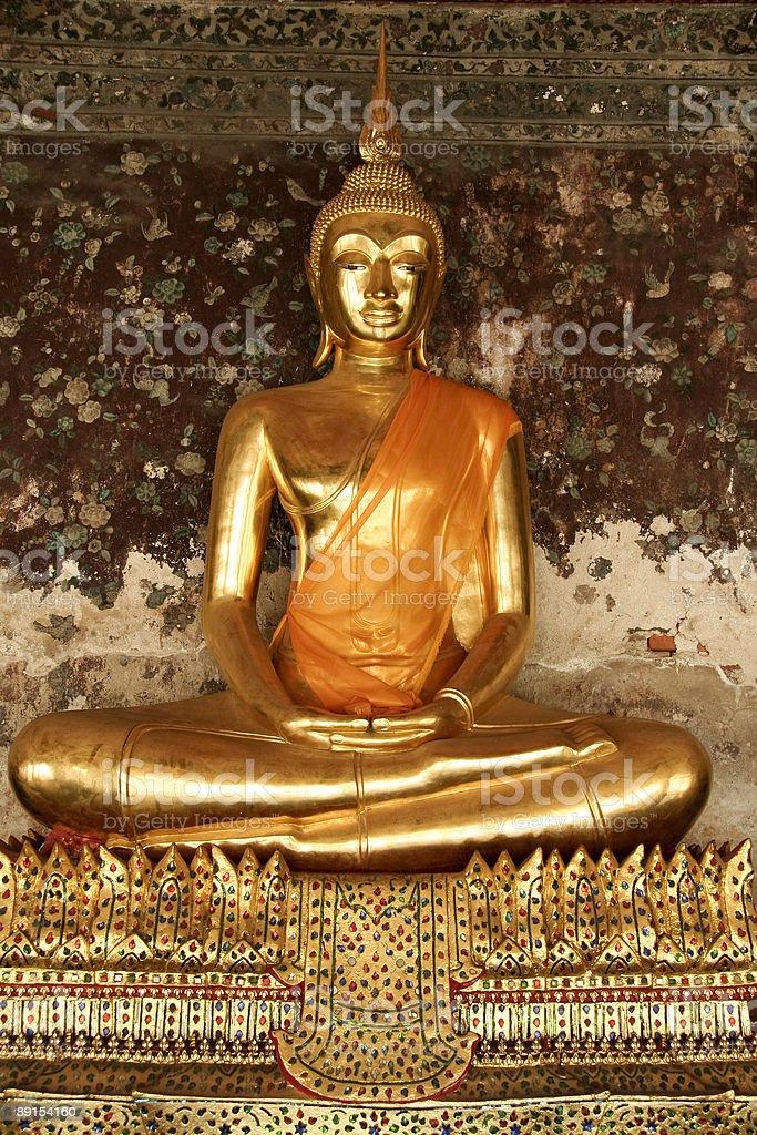 golden bangkok seated  buddha royalty-free stock photo