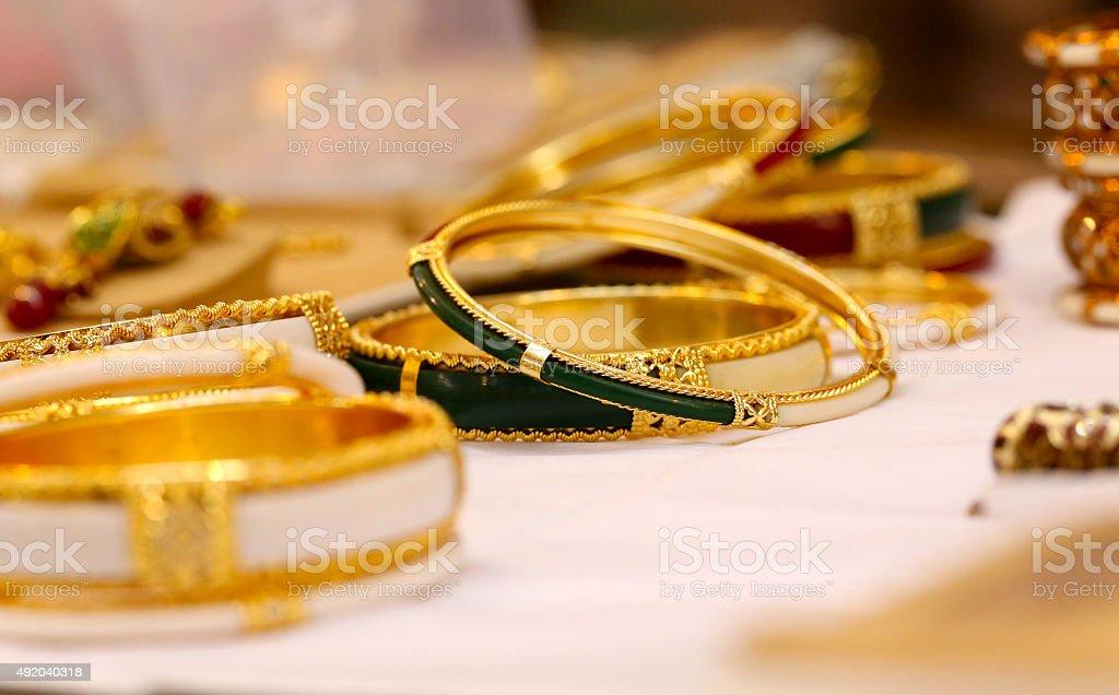 Golden Bangles stock photo