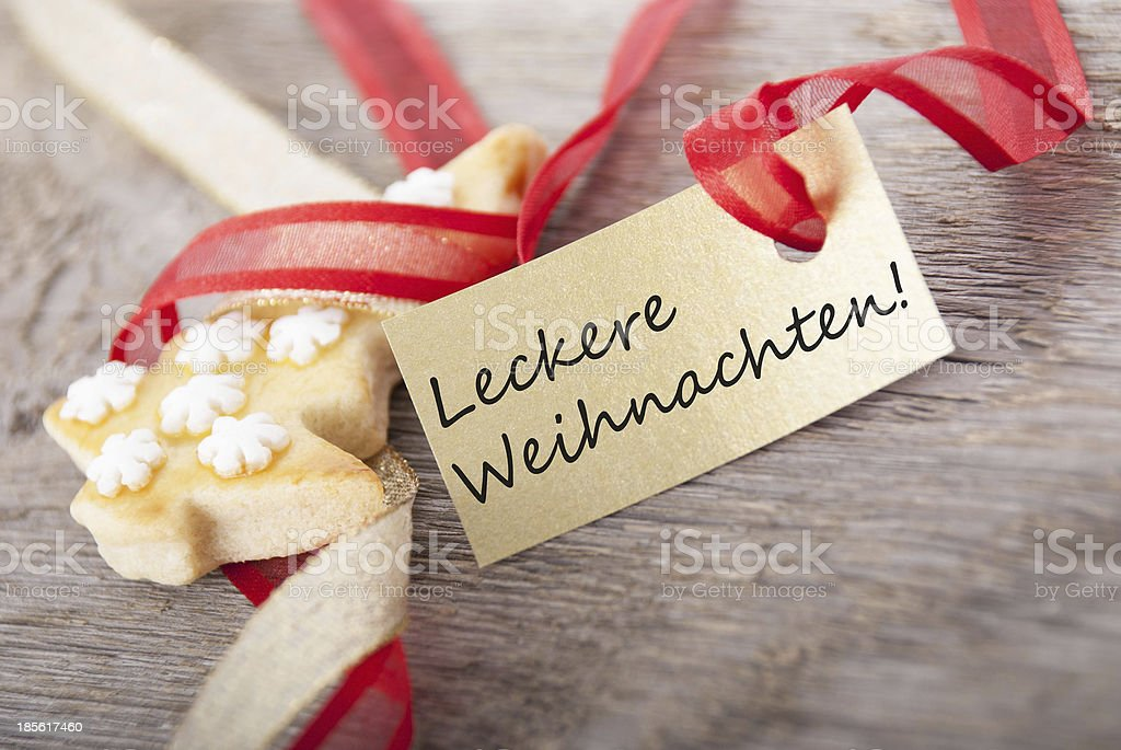 golden banner with Leckere Weihnachten royalty-free stock photo