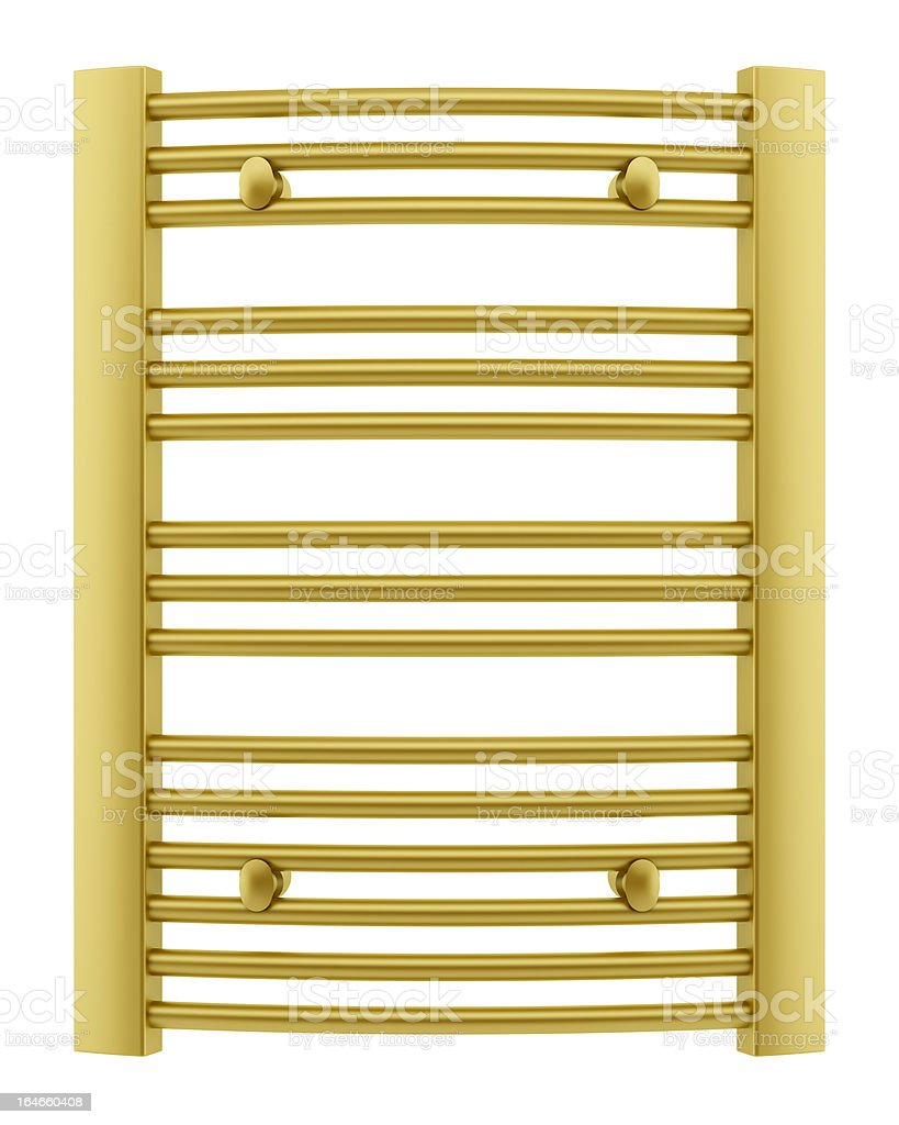 golden bathroom towel rail isolated on white background royalty-free stock photo
