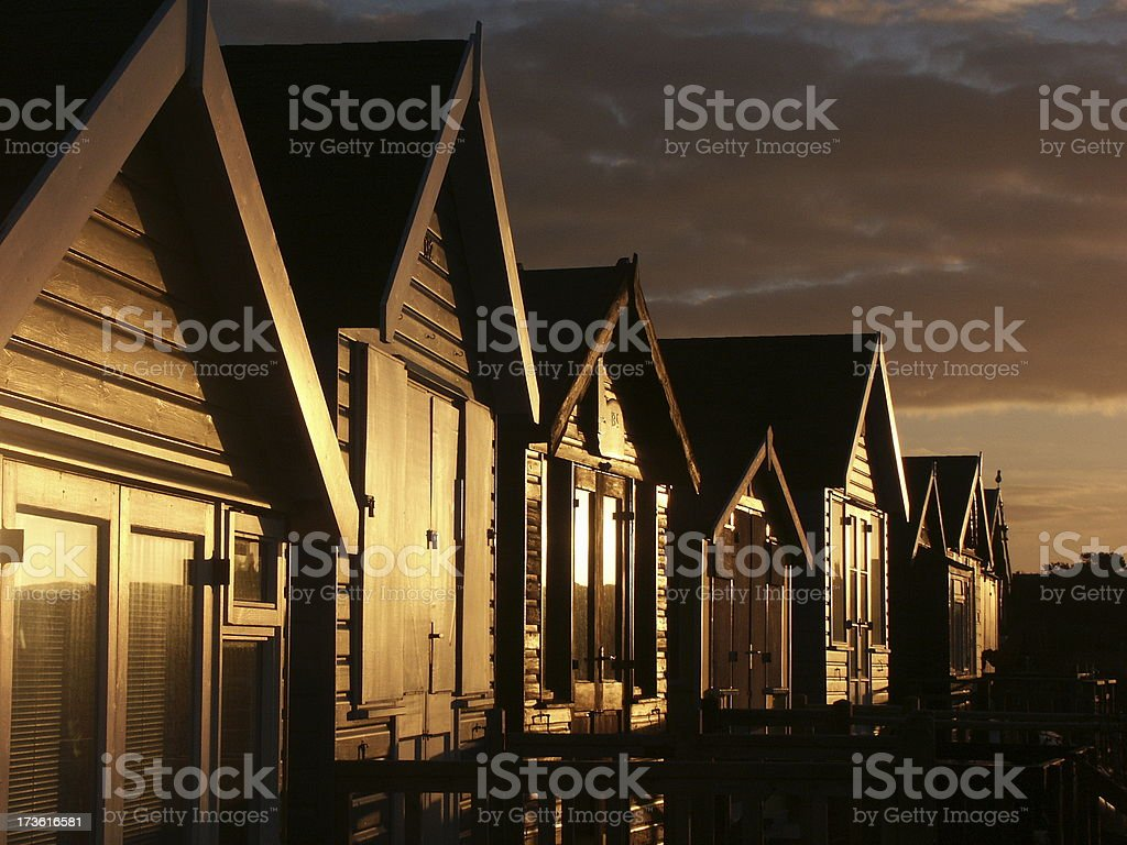 Golden beach huts royalty-free stock photo