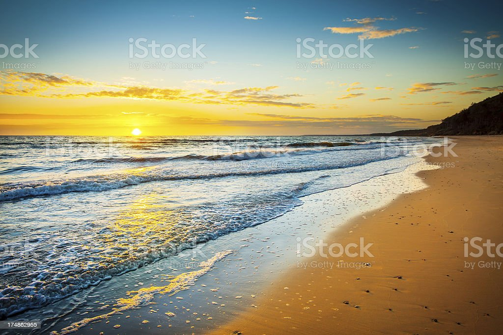 Golden Beach - Sunset Over the Ocean  XXXL HDR Image royalty-free stock photo