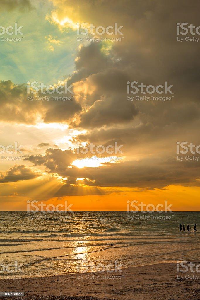Golden Beach Sunset stock photo