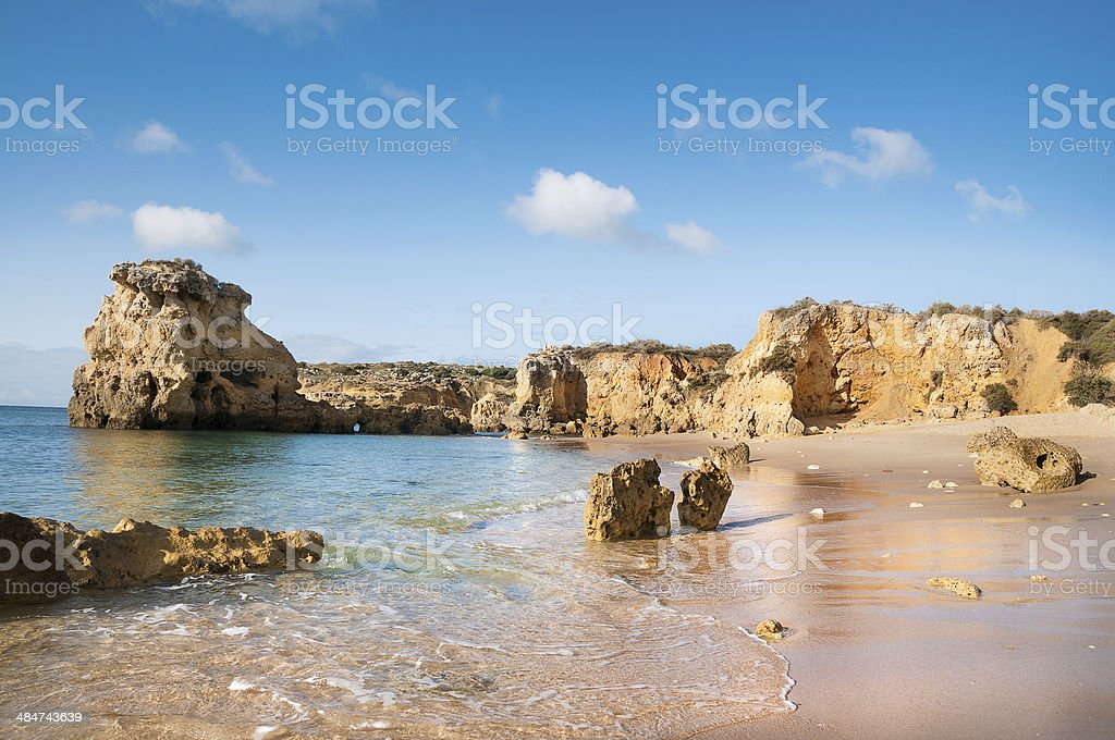 Golden beaches of Albufeira, Portugal stock photo