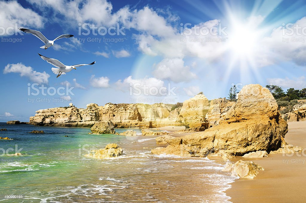 Golden beaches of Albufeira, South Portugal stock photo