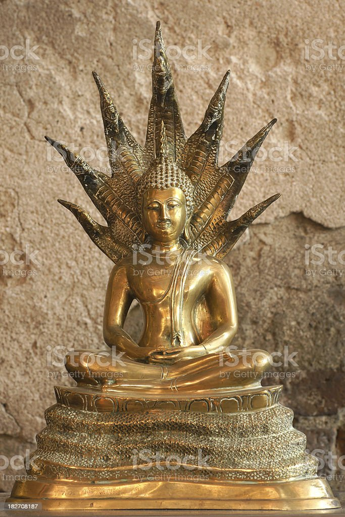 Golden Beautiful Buddha meditate  statue in Thailand temple stock photo