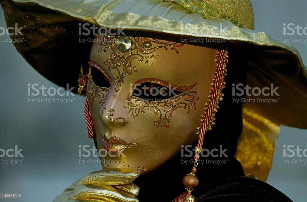 Golden beautiful decorated female mask in Venice (XXL) royalty-free stock photo