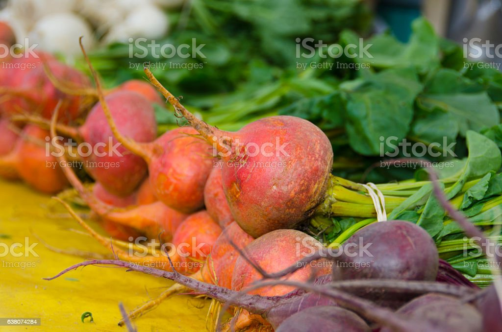 Golden Beets at the Farmers Market stock photo