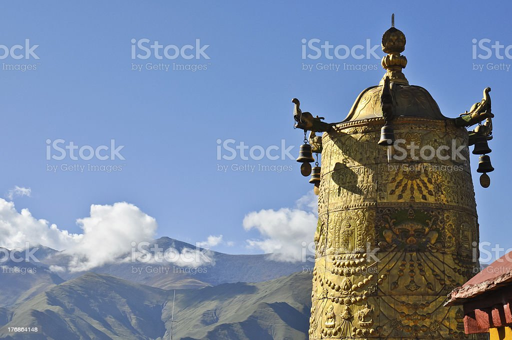 golden bell on the roof of Jokhang Temple royalty-free stock photo