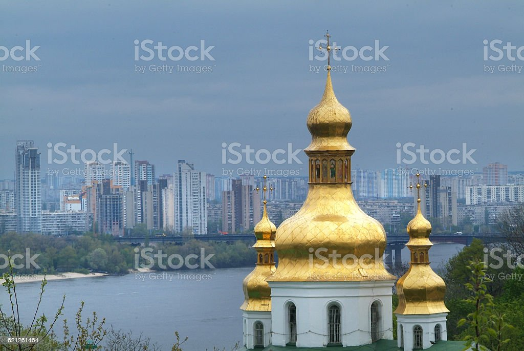 Golden bell tower stock photo