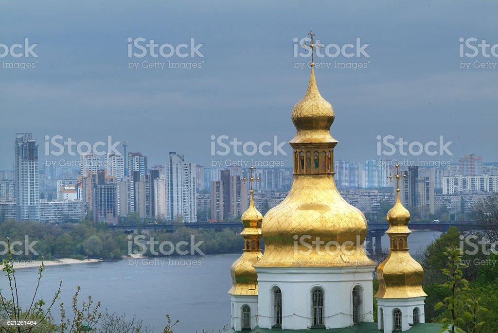 Golden bell tower stock photo