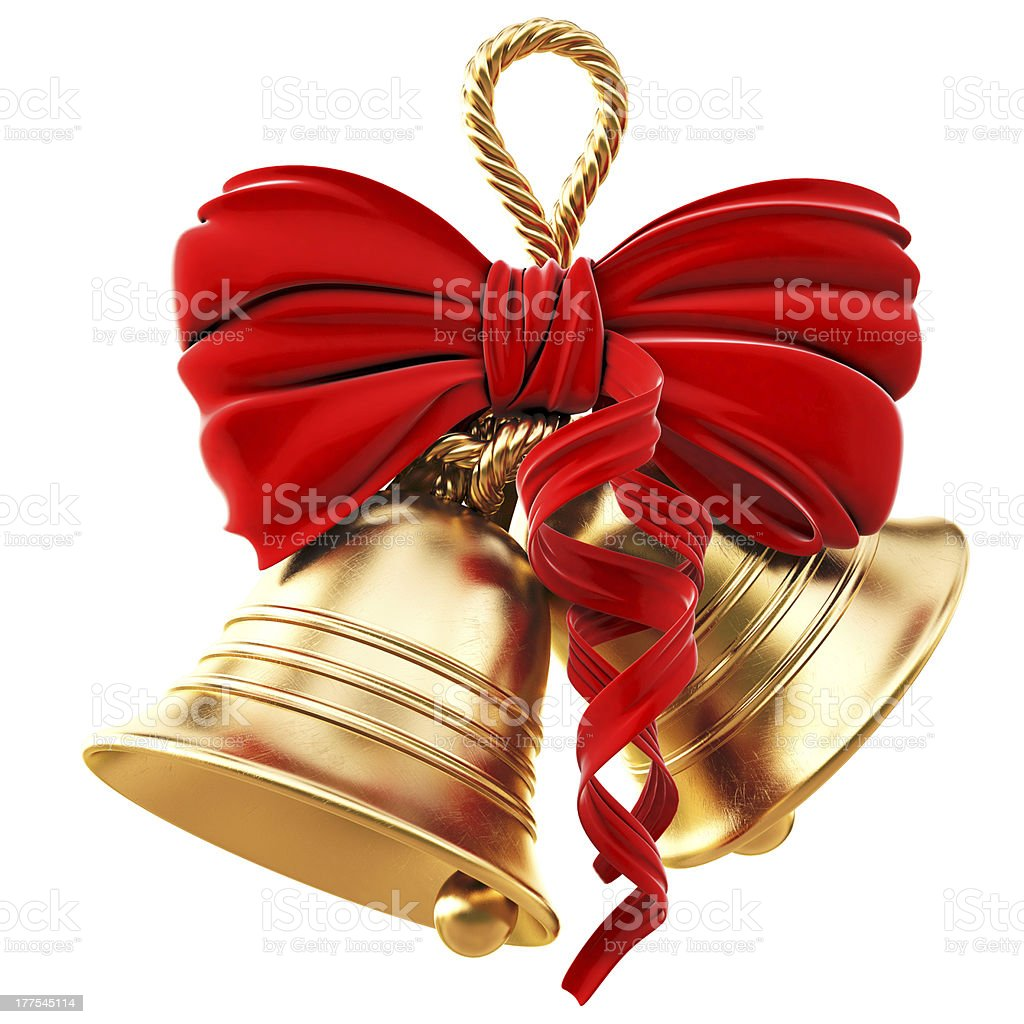 Golden bells and red bow for Christmas stock photo