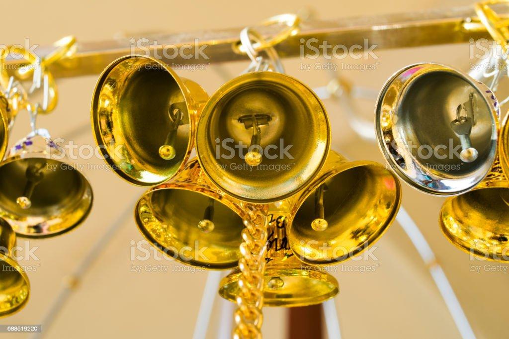 golden bells background stock photo