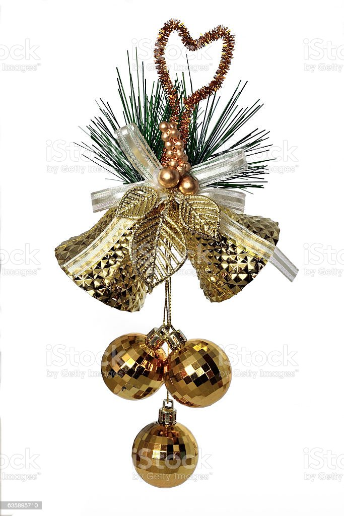 Golden bells - christmas decoration stock photo