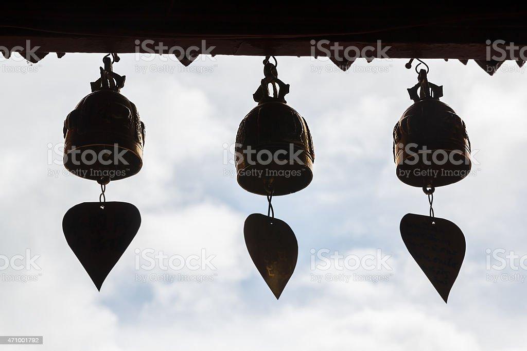 Golden bells sillhoutte stock photo