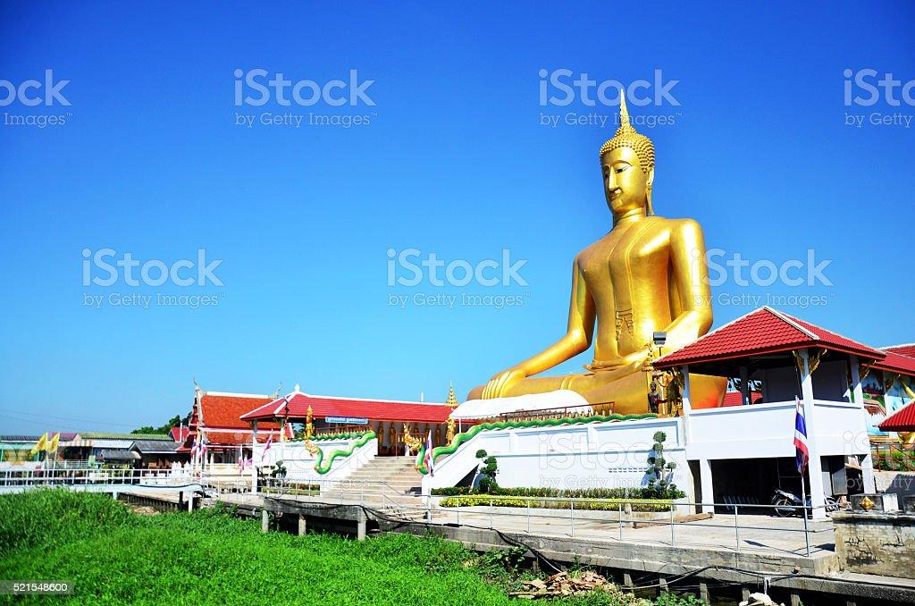 Golden Big Buddha statue image at Wat Bangchak Temple stock photo
