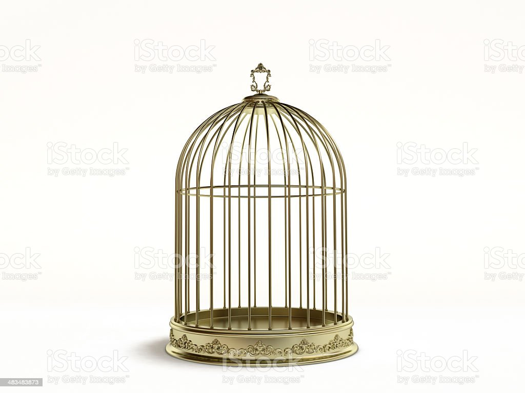 Golden birds cage stock photo