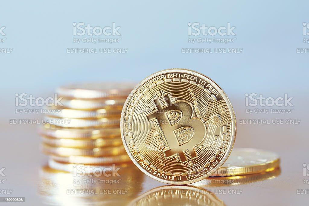 golden Bitcoin stock photo