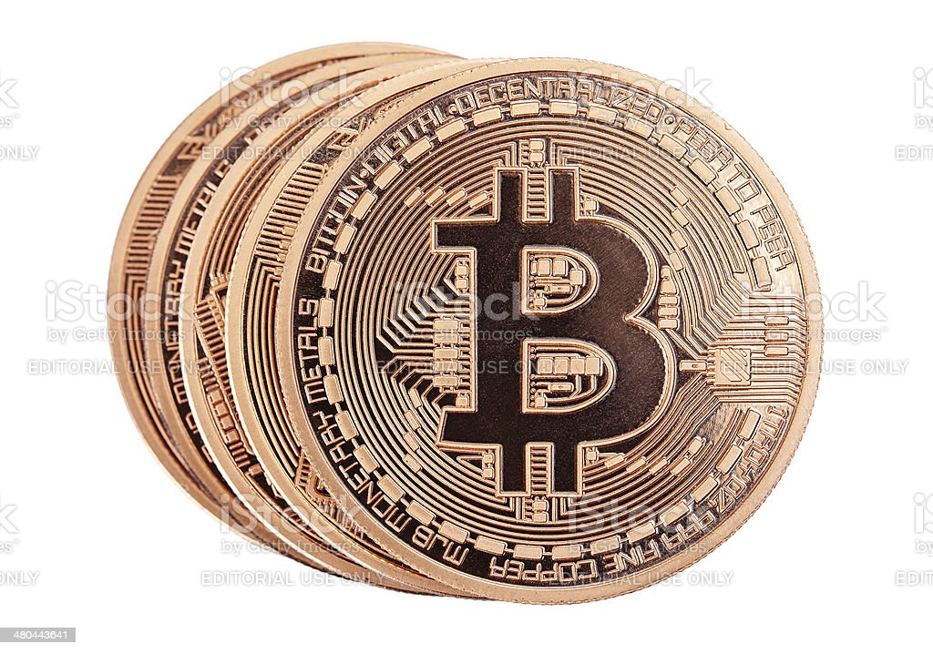 Golden Bitcoins royalty-free stock photo