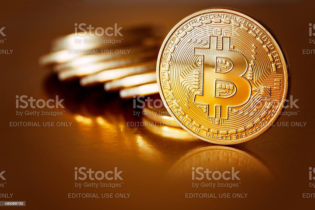 Golden Bitcoins stock photo