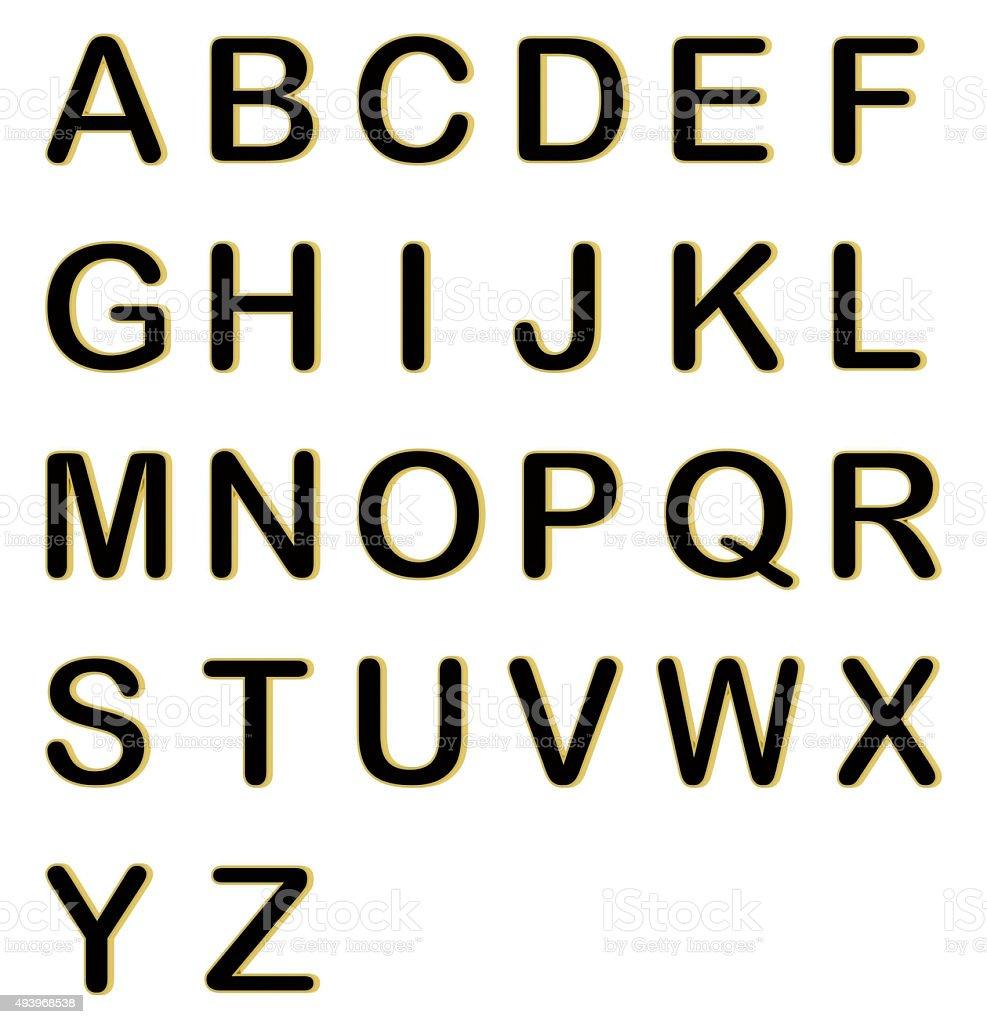 Golden black 3D ABCD alphabet stock photo