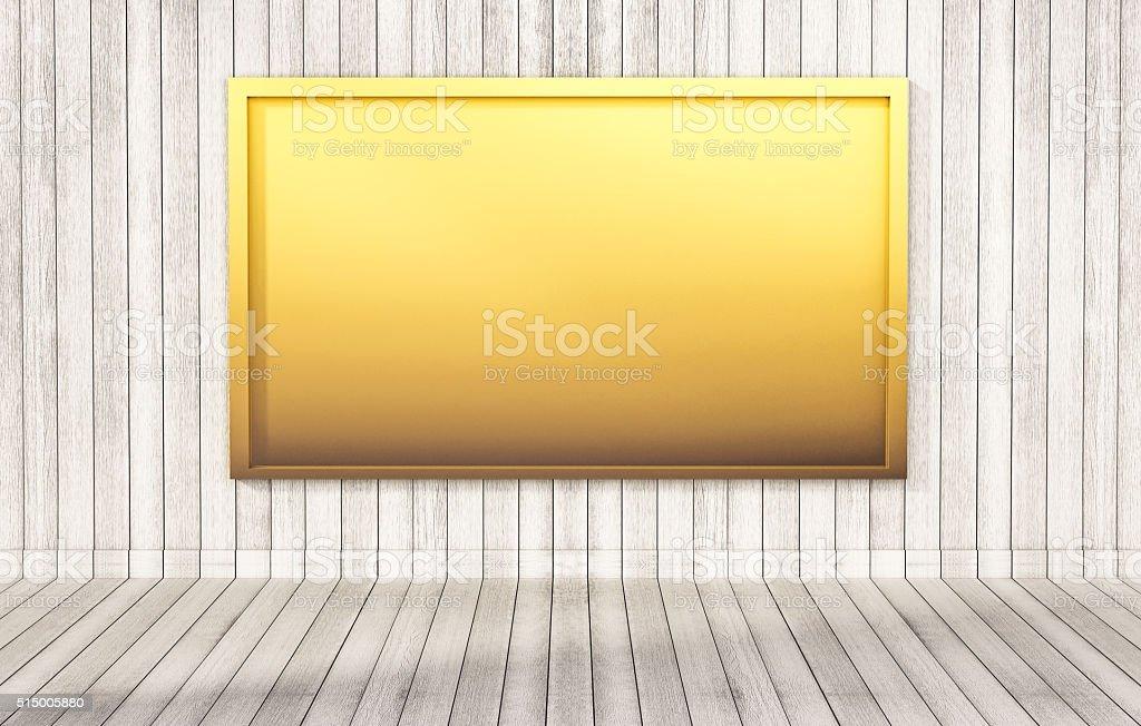 Golden blackboard on wooden wall and floor, 3d rendered stock photo
