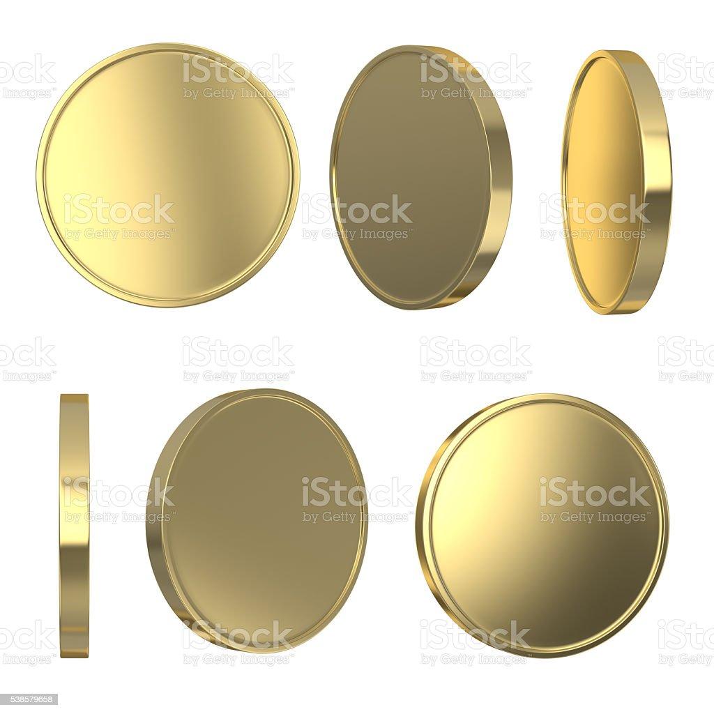 Golden blank coins stock photo