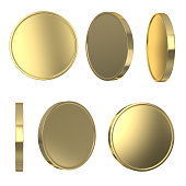 Golden blank coins
