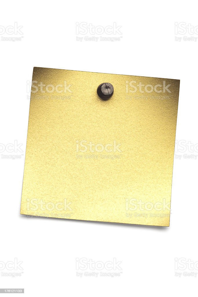 Golden blank note. royalty-free stock photo